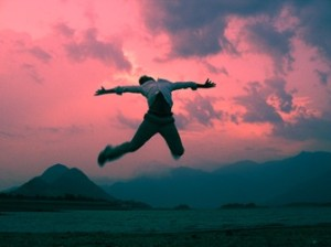 Happy man jumping.
